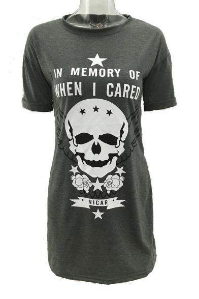 Skull Letter Pentagram Printed Round Neck Short Sleeve Mini T-Shirt Dress
