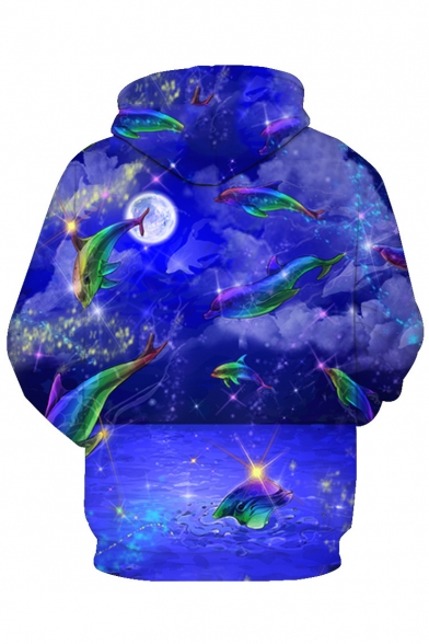 Long Printed 3D Sea Dolphin Sleeve Fancy Hoodie OCAqPwv
