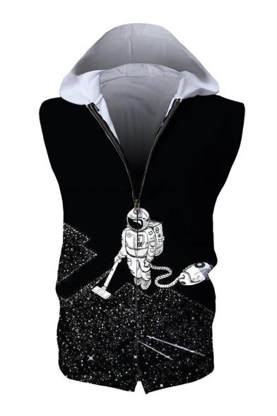 Astronaut Printed Zip Up Sleeveless Hoodie