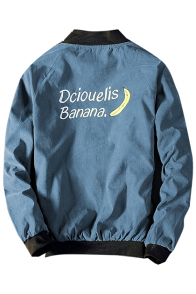 Banana Letter Printed Stand Up Collar Long Sleeve Baseball Jacket