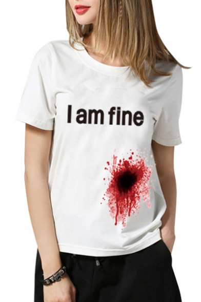 Blooding Wound I AM FINE Letter Printed Round Neck Short Sleeve Tee