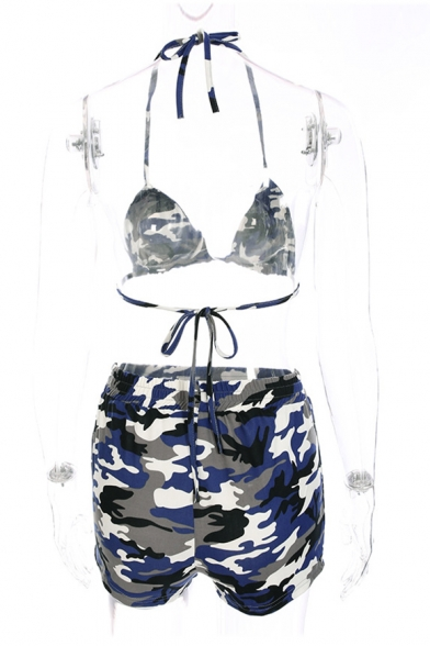Camouflage Printed Halter Sleeveless Bralet Top with Elastic Waist Hot Pants Shorts Co-ords
