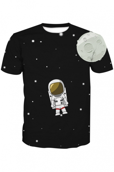 Astronaut Neck Tee Printed Cartoon Sleeve Short Moon Round Aw4Wdqv