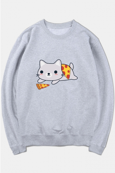 Printed Sleeve Long Round Sweatshirt Neck Pizza Cat Haxqn5fa