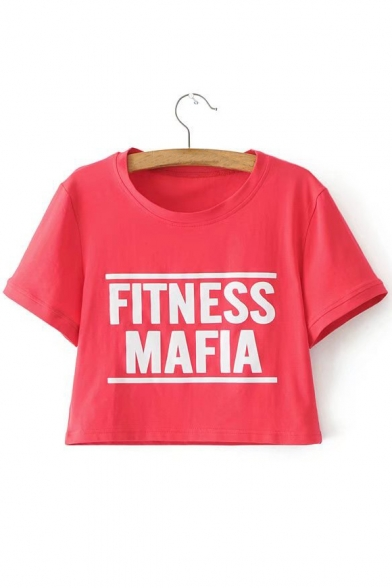 FITNESS Printed Short Letter Sleeve Tee Crop Neck Round rrg6xIw5q