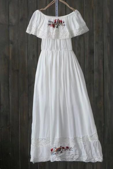 Floral Embroidered Off Shoulder Ruffle Cutout Hem Gathered Waist Dress