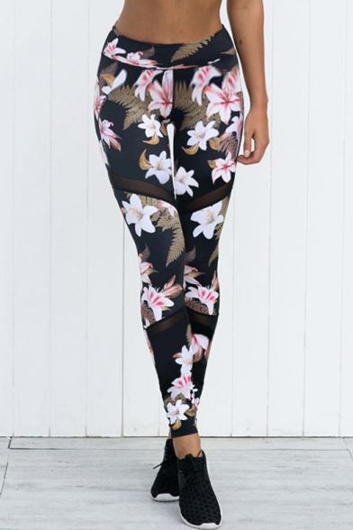 Купить со скидкой Floral Printed Sheer Mesh Insert Elastic Waist Skinny Leggings