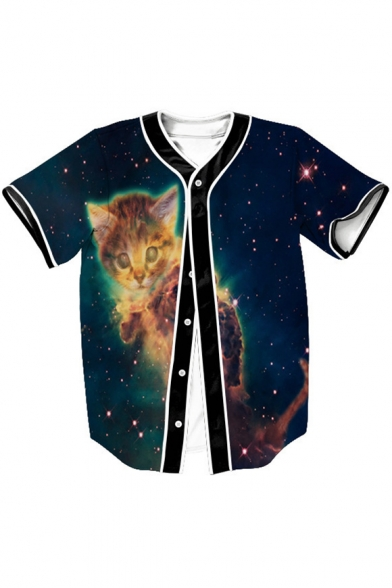 Cat Baseball Down Short Buttons Tee Galaxy Sleeve Printed dHwdBq