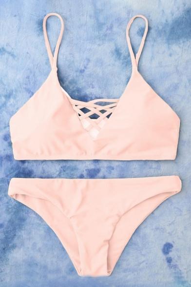 Lace Up Detail Plain Bikini