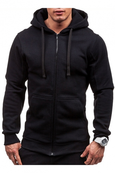 Plain Sleeve with Zip Pockets Long Hoodie Up 17qnxg