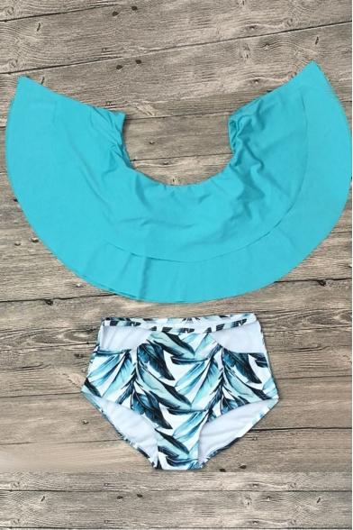 Off The Shoulder Leaf Printed Bottom Ruffle Detail Bikini