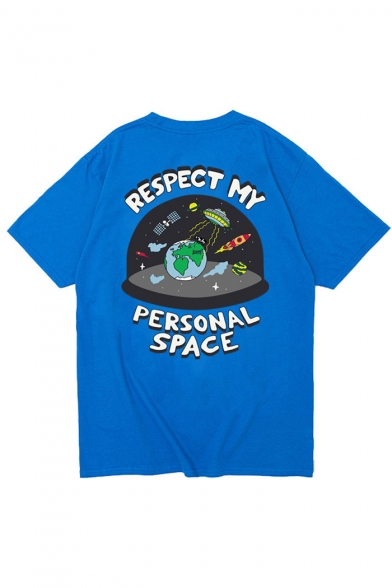 Printed SPACE Short Tee RESPECT Graphic PERSONAL Letter Round Neck Sleeves MY and 66qYBax