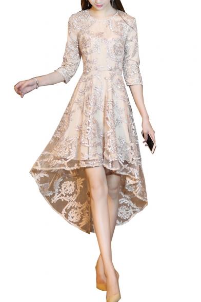 Sequined Embellished Round Neck Long Sleeve Midi Asymmetric Hem Dress