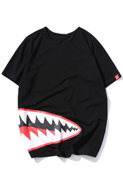 Mouth Neck Shark's Round Short Tee Sleeve Printed dHZ7rZ