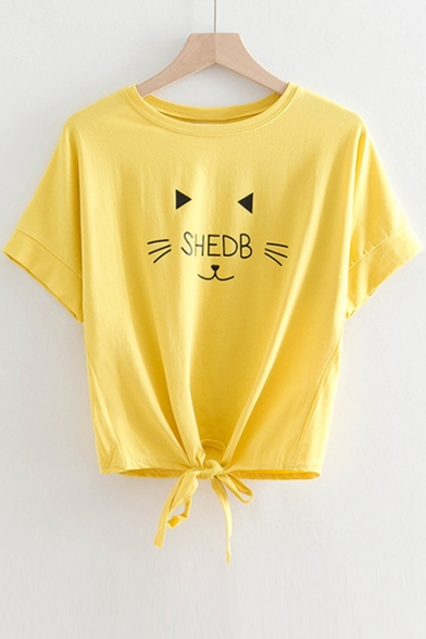 Tee Front Cat Sleeve Neck Tie Round Printed Letter Short SHEDB xI7wpzn