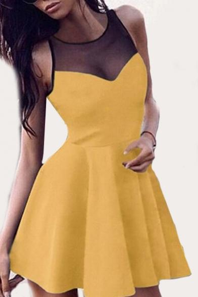 Sheer Mesh Insert Round Neck Sleeveless Mini A-Line Dress
