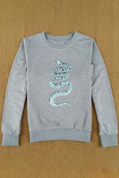 Neck Pullover Sleeve Round Long Printed Snake Sweatshirt fw1qOE4XxZ