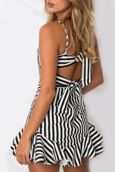 Striped Printed Spaghetti Straps Ruffle Hem Detail Mini Cami Dress