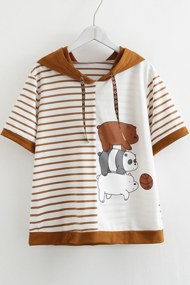 Stripes Tee Printed Three Bears Sleeve Short Hooded fzxwaqE