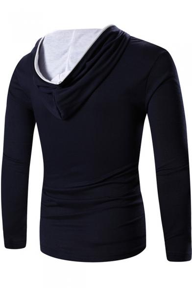 Tee Hooded Front Plain Long Sleeve Slim Zipper qFfxY0X0