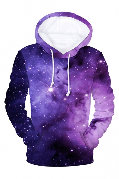 3D Galaxy Printed Long Sleeve Casual Hoodie