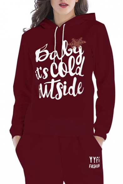 Snowflake COLD BABY Hoodie Sleeve OUTSIDE IT'S Long Printed qHqcrtTFw