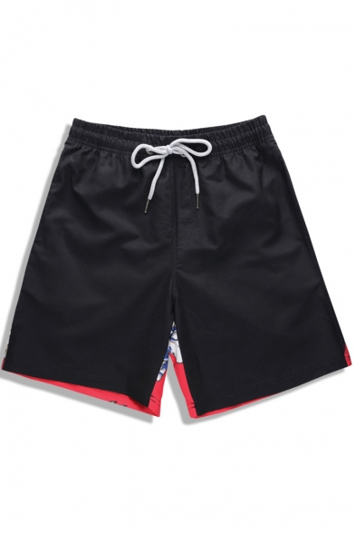 Best Big Men's Black and Red Quick Dry Elastic Dog Printed Swim Trunks with Drawstring and Pockets