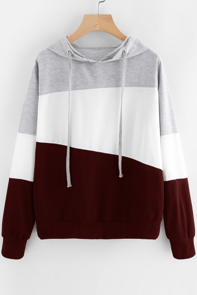 Sleeve Long Hoodie Block Casual Color Panel zqIwvR