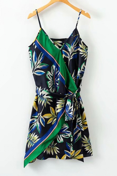 Color Block Leaf Printed Spaghetti Straps Sleeveless Mini Wrap Dress