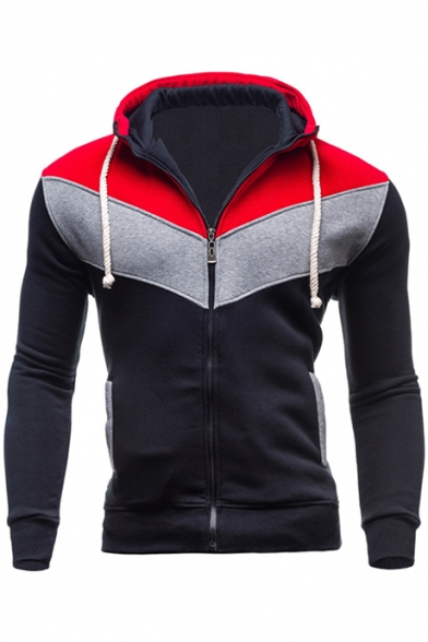 Block Color Slim Sleeve Hoodie Long Zip Up dOROrw