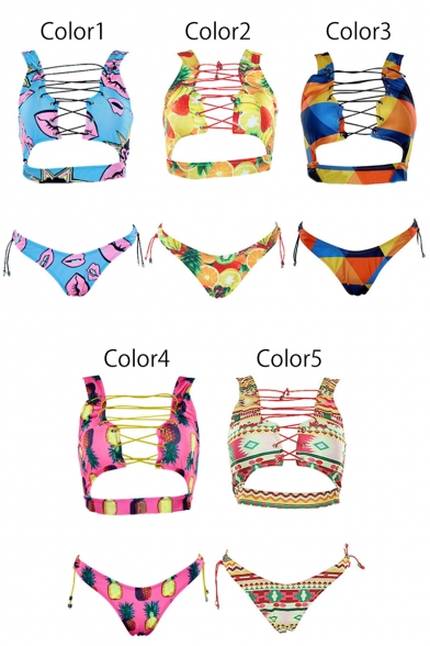 Up Lace Out Printed Fashionable Bikini Sleeveless Front Hollow CzBq8nwwx4