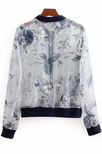 Floral Coat Collar Cropped Stand Organza Embroidered 1zx4n8X1r