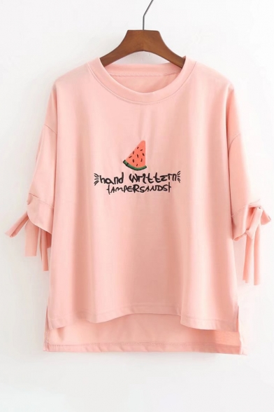 HAND WRITING Letter Watermelon Embroidered Round Neck Short Sleeve Tee