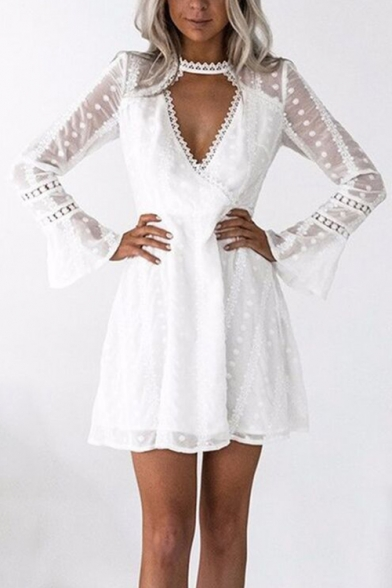 A Insert V Lace Sleeve Out Long Hollow Neck Mini Dress Line 8axddAFq