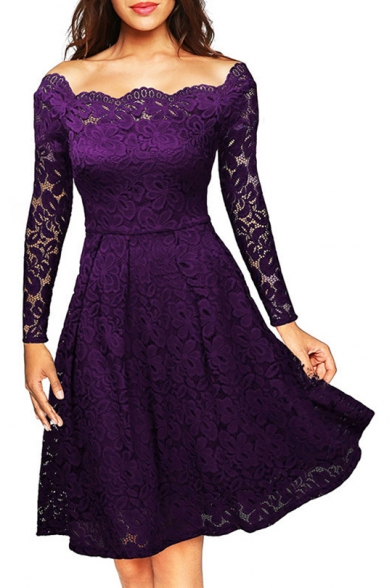 Off The Shoulder Long Sleeve Midi A-Line Lace Dress, Black;burgundy;white;purple;navy