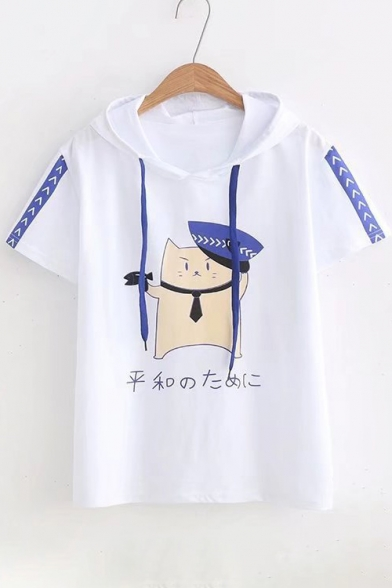 Sleeve Hooded Tee Printed Police Japanese Cat Short UIA4SP