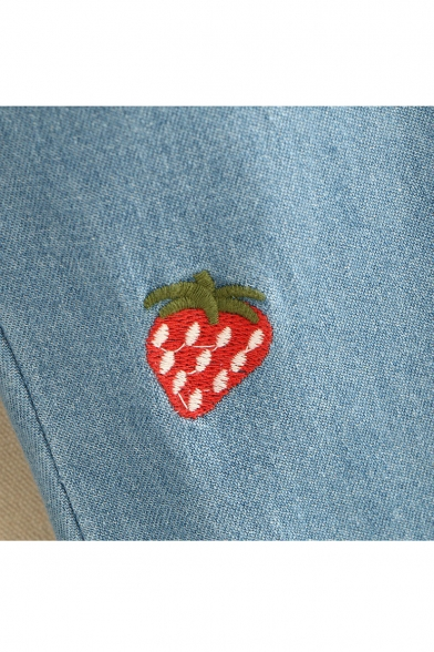Strawberry Embroidered Elastic Waist Straight Jeans