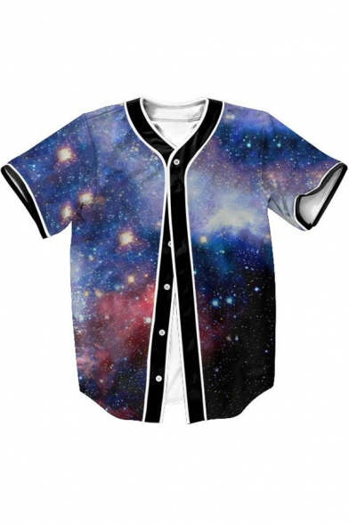 Sleeve Printed 3D Down Galaxy Short Buttons Baseball Tee 4q5BXw