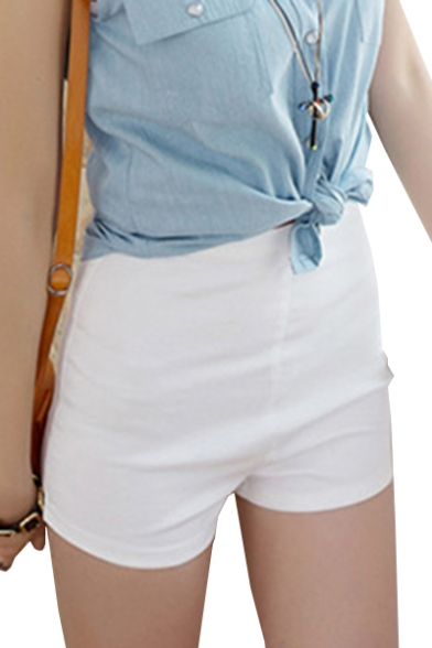 Basic Plain Zipper Side Hot Pants Denim Shorts