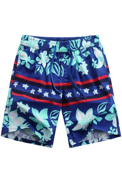 Best Mens Navy Blue Summer Floral Print Swim Trunks Bathing Shorts with Back Flap Pockets