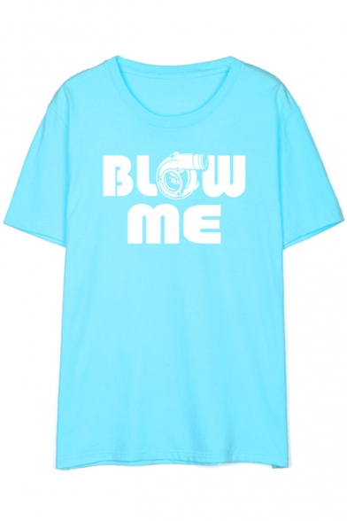 Sleeve Gun Tee Letter Printed ME Short Round Neck BLOW qR806