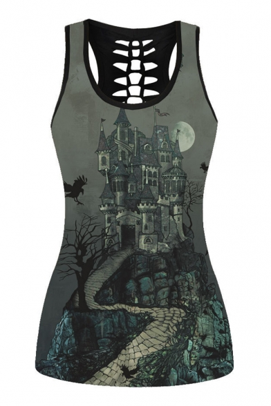 Castle Landscape Printed Round Neck Sleeveless Hollow Out Back Tank LC472769 фото