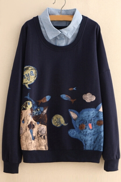 Fish Cat Sleeve Lapel Fake Sweatshirt Chinese Long Collar Piece Two Printed dqwrBxqF