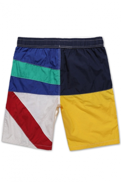 Classic Elastic Blue and Yellow Color Block Swim Shorts with Drawstring and Pockets