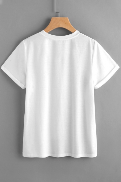 Color Neck Printed Round Face Sleeve Short Block Tee rZwf6xZq