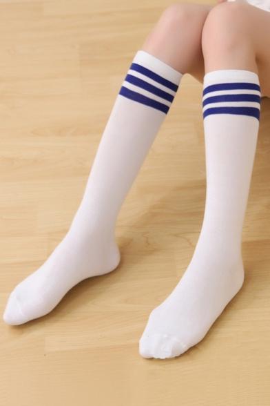 b8fc2e474 Contrast Striped Printed Skinny Cotton Knee-High Socks - Beautifulhalo.com