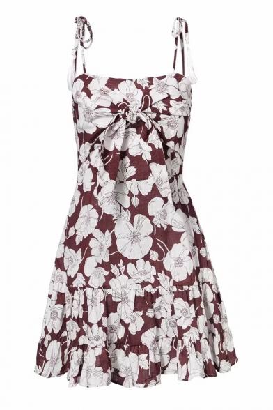 Floral Printed Tied Front Spaghetti Straps Sleeveless Mini Cami Dress
