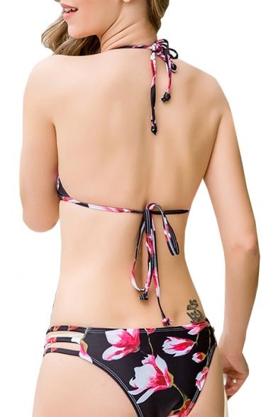 Bottom Hollow Detail Bikini Printed Out Halter Floral vxX8Eg