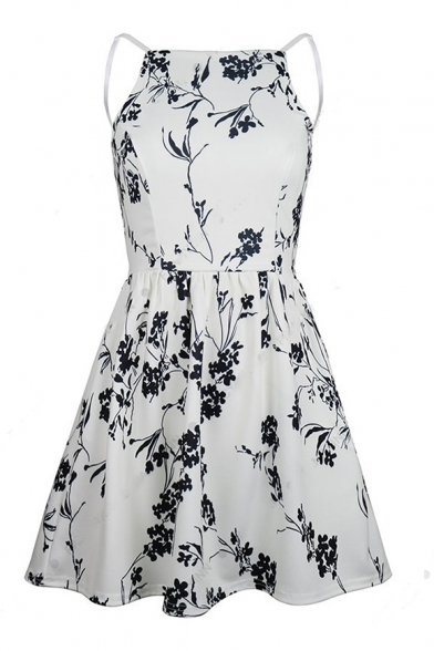 Ink Printed Spaghetti Straps Sleeveless Hollow Out Back Mini A-Line Dress
