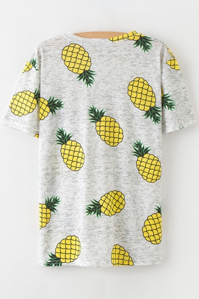 Round Tee Leisure Short Printed Sleeve Neck Pineapple qExEYr0